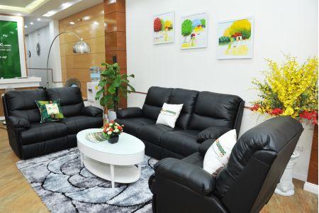 Sofa da khung thép màu đen nhập khẩu mã TQ-05-10