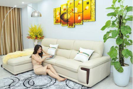 Bộ ghế sofa giả da cao cấp nhập khẩu mã QVF1623P