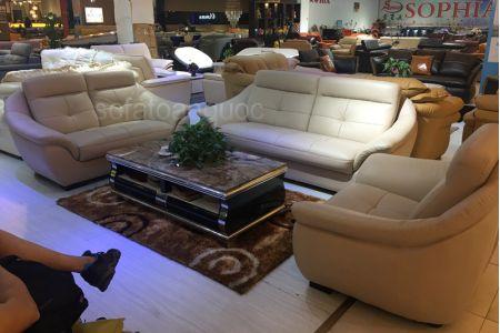 Bộ ghế sofa tiếp khách văn phòng bọc da  mã 154-1