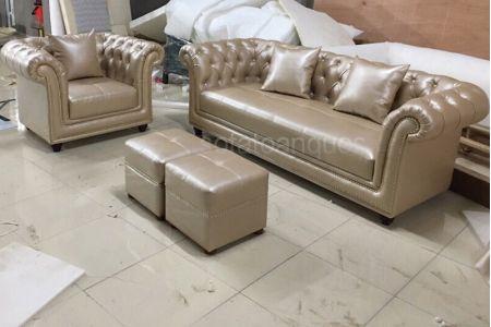 Mẫu sofa kiểu truyền thống cổ điển bọc da mã 168-1