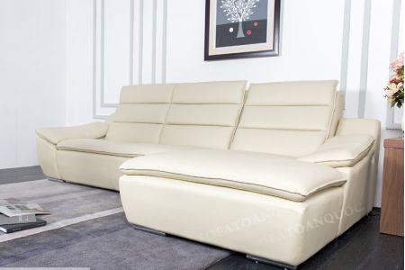 Sofa da màu trắng kem sang trọng mã 110-1