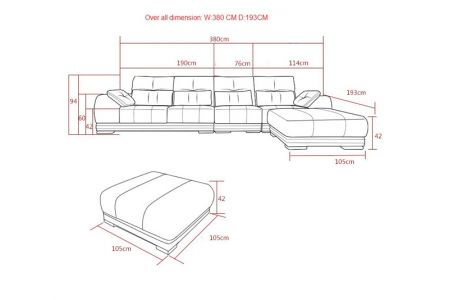 Kích thước bộ ghế sofa da màu kẻ nâu