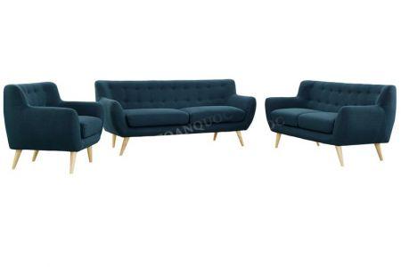 Bộ bàn ghế sofa vải nỉ bé vừa nhỏ bọc vải bộ 1-2-2 màu xanh ngọc cho phòng khách mã 31-1