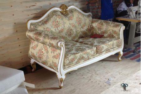 Mẫu ghế sofa văng nỉ tân cổ điển kiểu Pháp mã 05-3