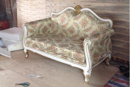 Mẫu ghế sofa văng nỉ tân cổ điển kiểu Pháp mã 05-4