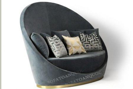 Mẫu ghế sofa văng đơn vải tròn hình lòng chảo mã 11-1