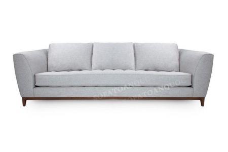 Mẫu sofa văng nỉ đơn màu trắng xám chân gỗ mã 21