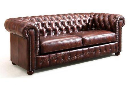 Ghế sofa văng bọc da kiểu dáng tân cổ điển màu nâu cafe cực sang mã 33-1
