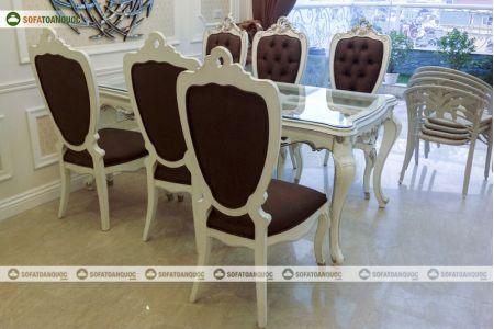 Bộ bàn ghế ăn mặt kích với ghế kiểu tân cổ điển bọc đệm mã 36