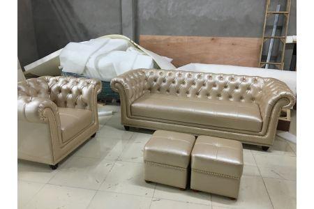 Mẫu sofa kiểu truyền thống cổ điển bọc da mã 168