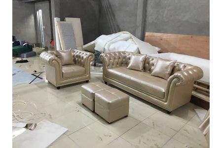 Mẫu sofa kiểu truyền thống cổ điển bọc da mã 168-2