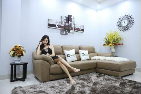 Bộ bàn ghế sofa da đẹp góc trái mã sdn21t-3