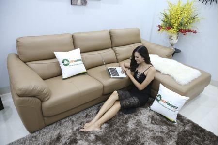 Bộ bàn ghế sofa da đẹp góc trái mã sdn21t-4