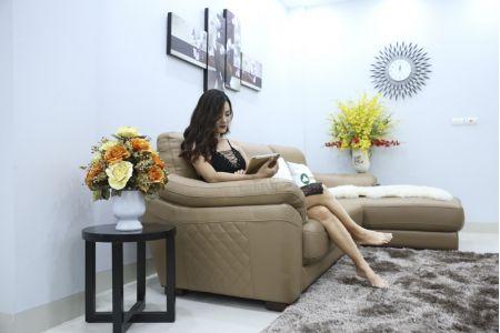 Bộ bàn ghế sofa da đẹp góc trái mã sdn21t-5