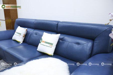 Ghế sofa da màu xanh dương nhập khẩu mã VH11T-8