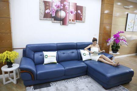 Ghế sofa da màu xanh dương nhập khẩu mã VH11T-1
