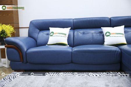 Ghế sofa da màu xanh dương nhập khẩu mã VH11T-5