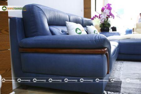 Ghế sofa da màu xanh dương nhập khẩu mã VH11T-6