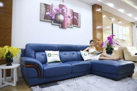 Ghế sofa da màu xanh dương nhập khẩu mã VH11T