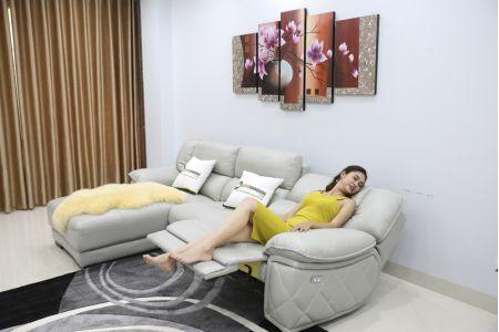 Bộ ghế sofa da điện tích hợp công nghệ nâng chân tự động mã VH-07P-6
