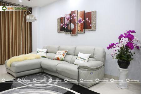 Bộ ghế sofa da điện tích hợp công nghệ nâng chân tự động mã VH-07P-8
