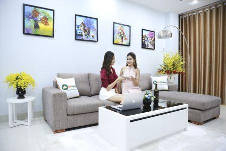 Bộ ghế sofa góc vải bố màu xám lông chuột mã TNV-01T-1