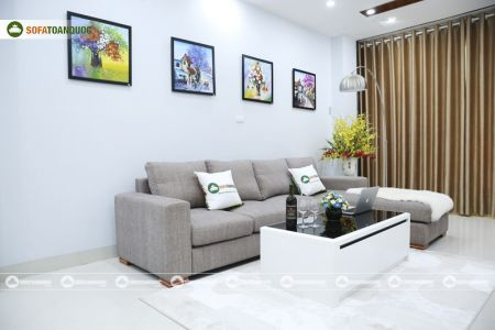 Bộ ghế sofa góc vải bố màu xám lông chuột mã TNV-01T-10