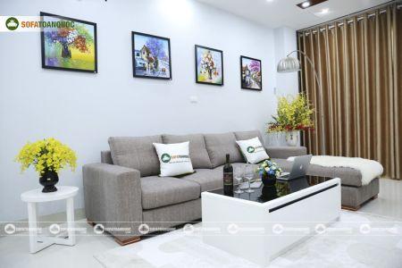 Bộ ghế sofa góc vải bố màu xám lông chuột mã TNV-01T-11