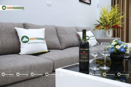 Bộ ghế sofa góc vải bố màu xám lông chuột mã TNV-01T-12