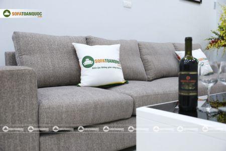 Bộ ghế sofa góc vải bố màu xám lông chuột mã TNV-01T-13
