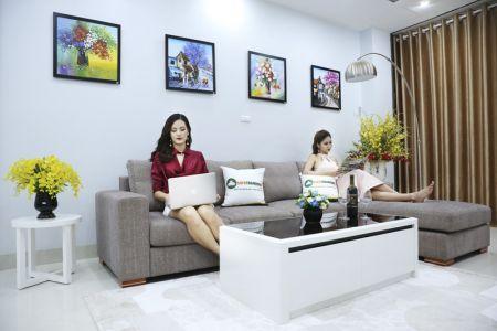 Bộ ghế sofa góc vải bố màu xám lông chuột mã TNV-01T-4