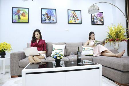 Bộ ghế sofa góc vải bố màu xám lông chuột mã TNV-01T-5