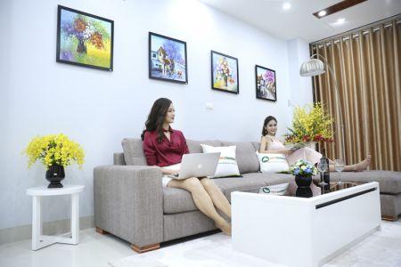 Bộ ghế sofa góc vải bố màu xám lông chuột mã TNV-01T-7