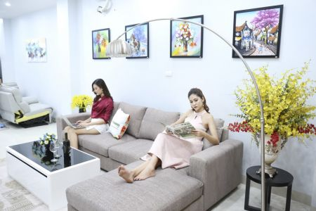 Bộ ghế sofa góc vải bố màu xám lông chuột mã TNV-01T-8