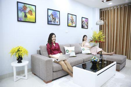 Bộ ghế sofa góc vải thô (bố) màu xám lông chuột mã TNV-01T