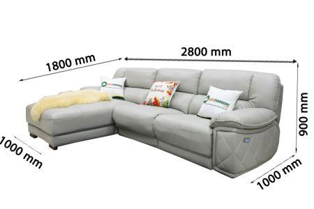 Kích thước Bộ ghế sofa da điện tích hợp công nghệ nâng chân tự động mã VH-07P-14