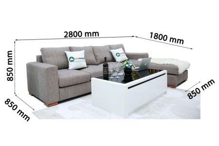Bộ ghế sofa góc vải bố màu xám lông chuột mã TNV-01T-14