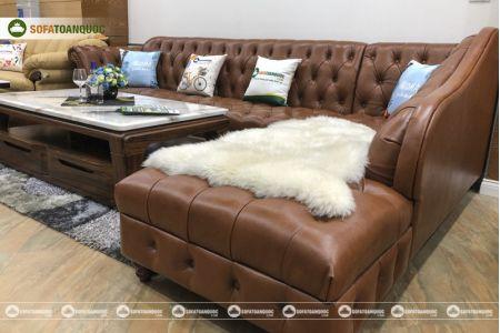 Bộ bàn ghế sofa da tân cổ điển đẹp mã 196-3