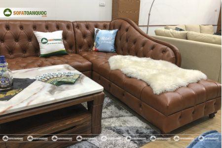 Bộ bàn ghế sofa da tân cổ điển đẹp mã 196-5