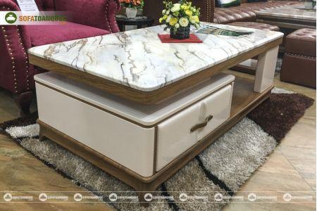 Bàn trà sofa mặt đá marble nhập khẩu mã 1300