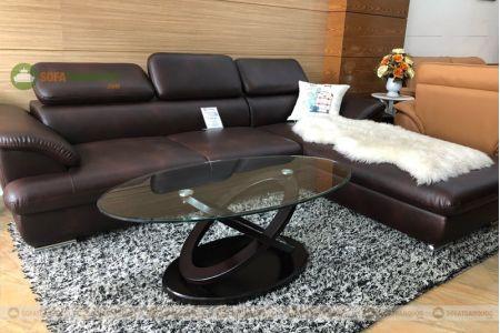 Bàn kính cường lực cho sofa hình oval mã 105-1