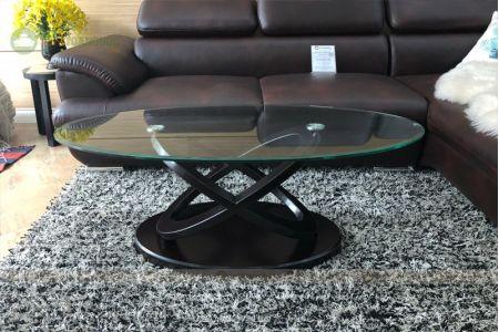 Bàn kính cường lực cho sofa hình oval mã 105-2