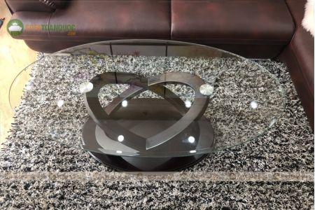 Bàn kính cường lực cho sofa hình oval mã 105-3