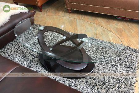 Bàn kính cường lực cho sofa hình oval mã 105-4