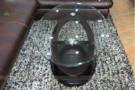 Bàn kính cường lực cho sofa hình oval mã 105-5