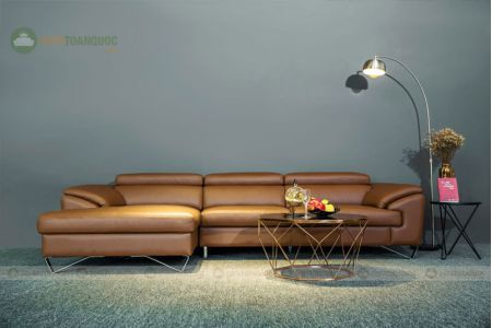 Bộ bàn ghế sofa da chân màu da bò mã 203-1
