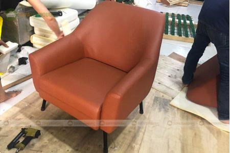 Sofa đơn bọc vải màu cam đẹp mã 59