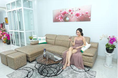 mẫu sofa phòng khách màu da báo đốm mã 205b