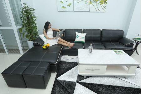 Sofa góc da chữ l màu đen mã M05