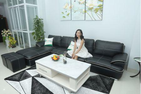 Mẫu ghế sofa góc da chữ l màu đen đẹp mã M05